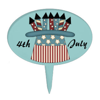 4th July-American Flag Hat with Fireworks Cake Topper