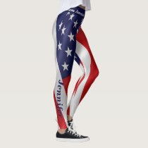 4th JULY American Flag Leggings Your Name Parade
