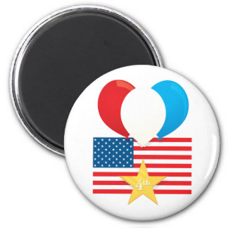 4th July Balloons 2 Inch Round Magnet