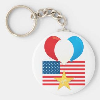 4th July Balloons Basic Round Button Keychain