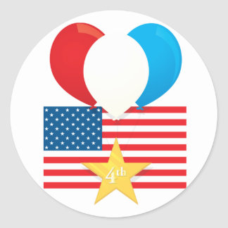 4th July Balloons Classic Round Sticker