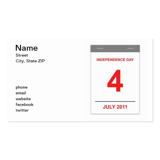 4th July Business Card Templates
