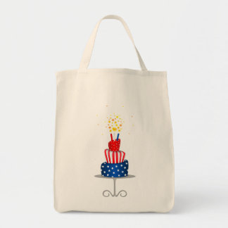 4th July Celebration Cake in Red, White and Blue Bag