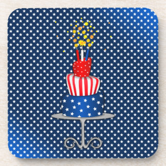 4th July Celebration Cake in Red, White and Blue Beverage Coaster