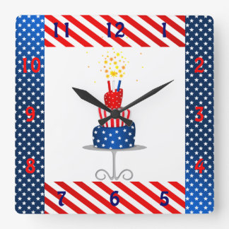 4th July Celebration Cake in Red, White and Blue Square Wall Clocks