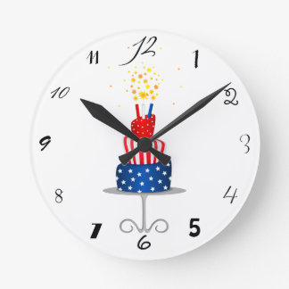 4th July Celebration Cake in Red, White and Blue Round Clock