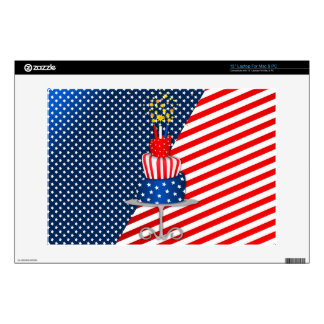 """4th July Celebration Cake in Red, White and Blue Decals For 13"""" Laptops"""