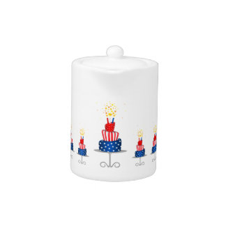 4th July Celebration Cake in Red, White and Blue Teapot