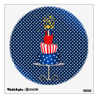 4th July Celebration Cake in Red, White and Blue Wall Sticker