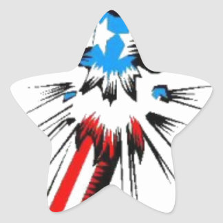 4th July Firecracker Star Sticker