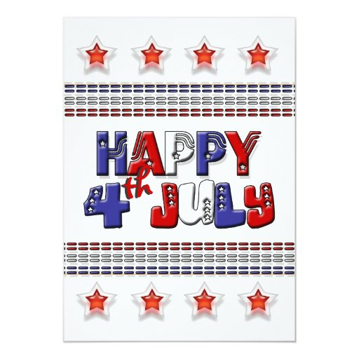 """4th July fun bbq Independence day 5"""" X 7"""" Invitation Card"""
