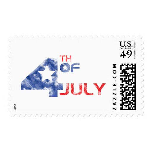 4th July - Independence Day - 4th July Grunge Postage Stamp