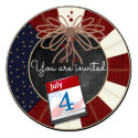 """4th July Independence Day Chalkboard Party Invites 5.25"""" Square Invitation Card"""