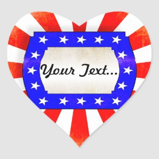 July 4th Independence Day Heart Sticker