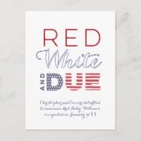 4th July Independence Day Labor Day Pregnancy Announcement Postcard