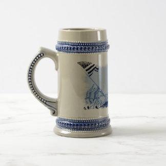 4th July Iwo Jima God Bless America Ceramic Stein