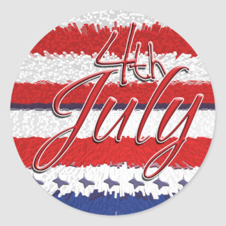 4th July red white blue party Classic Round Sticker