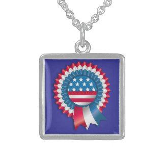 4th July Ribbon  v3 Square Pendant Necklace