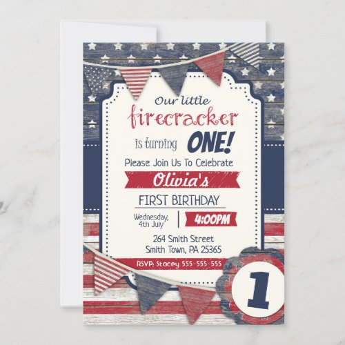 4th July Themed Any GenderAge Independence Day Invitation