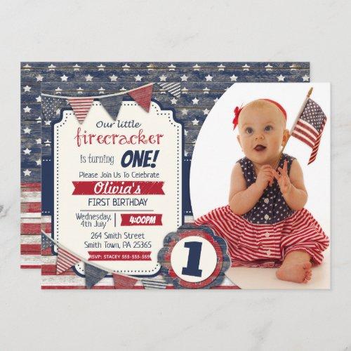 4th July Themed Custom Photo Invitation