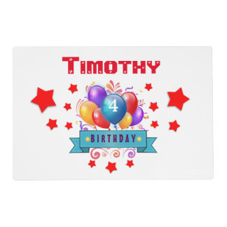 4th KIDS Birthday Festive Colorful Balloons B10BZ Placemat