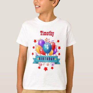4th KIDS Birthday Festive Colorful Balloons B10BZ T-Shirt