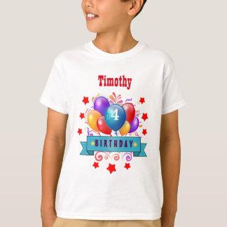4th KIDS Birthday Festive Colorful Balloons B10BZ T-Shirt