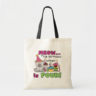 4th Kitten Birthday T-shirts and Gifts Tote Bags