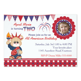 4th of July 2nd Birthday Photo Card