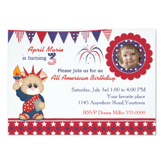 4th of July 3rd Birthday Photo Card