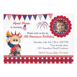 4th of July 4th Birthday Photo Invite
