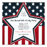 4th of July 5.25x5.25 Square Paper Invitation Card