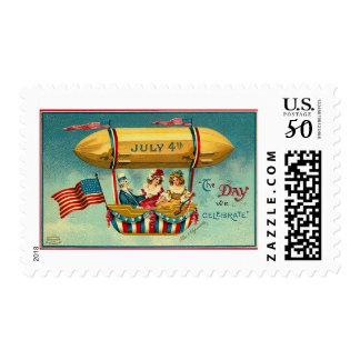4th of July - Airship - Vintage art Postage