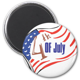 4th of July American Flag 2 Inch Round Magnet