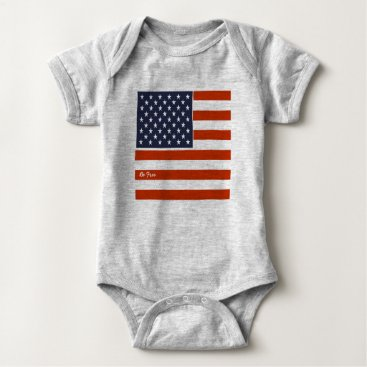 "USA Themed 4th of July American Flag ""Be Free"" Baby Bodysuit"