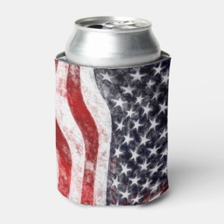 4th of July, American Flag Can Cooler