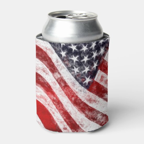4th of July, American Flag Drink Cooler