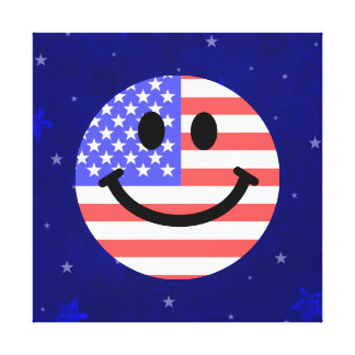 4th of July American Flag Smiley face Canvas Print
