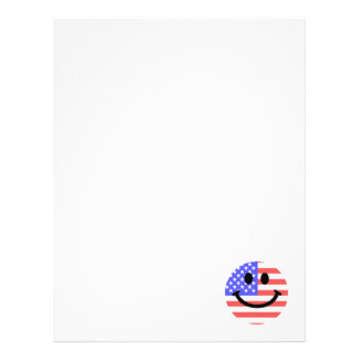 4th of July American Flag Smiley face Letterhead