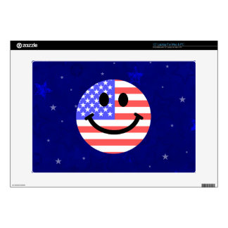 4th of July American Flag Smiley face Decal For Laptop