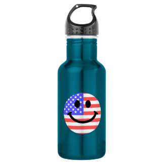 4th of July American Flag Smiley face Stainless Steel Water Bottle