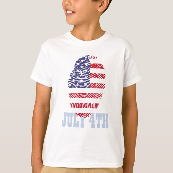 4th of July, American Flag Thumb Print T-Shirt