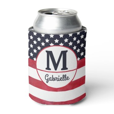 USA Themed 4th of July American Flag USA Patriotic Monogram Can Cooler