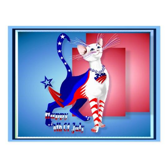 4th Of July American Kitty Postcard