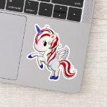 4th of July American Unicorn Pegasus Rainbow Sticker
