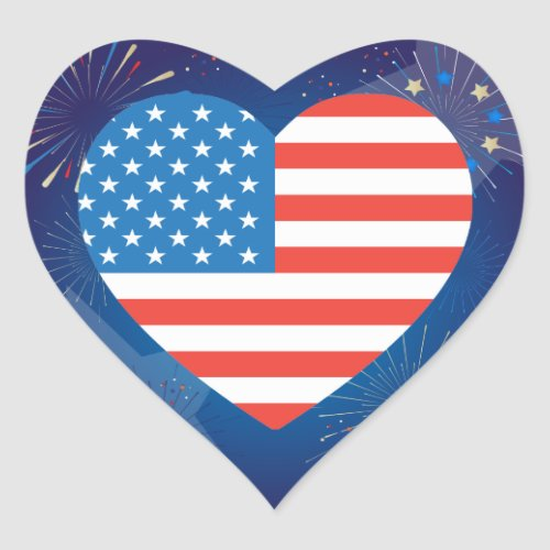 4th of July American USA Flag Patriotic Heart Sticker