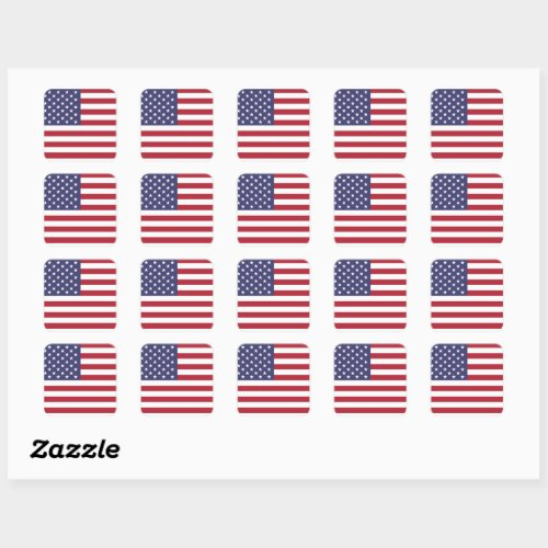 4th of July American USA Flag Patriotic Square Sticker