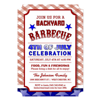 4th of July Backyard BBQ Celebration Festive 5x7 Paper Invitation Card