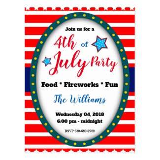 4th of July Backyard Party Invitation Postcard
