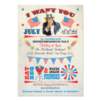 4th of July Barbecue bbq party invitations